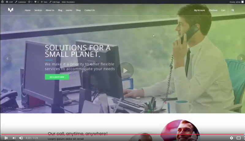 video of VOIP, Telecom and cloud services WordPress theme