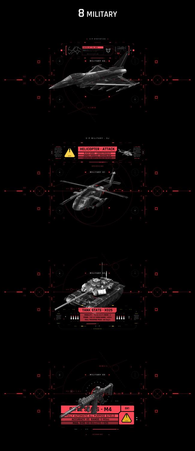 AE脚本-500个HUD高科技赛博朋克UI科幻界面元素动画预设包 Cyberpunk HUD UI 500+ 已修复中文版AE表达式报错插图38