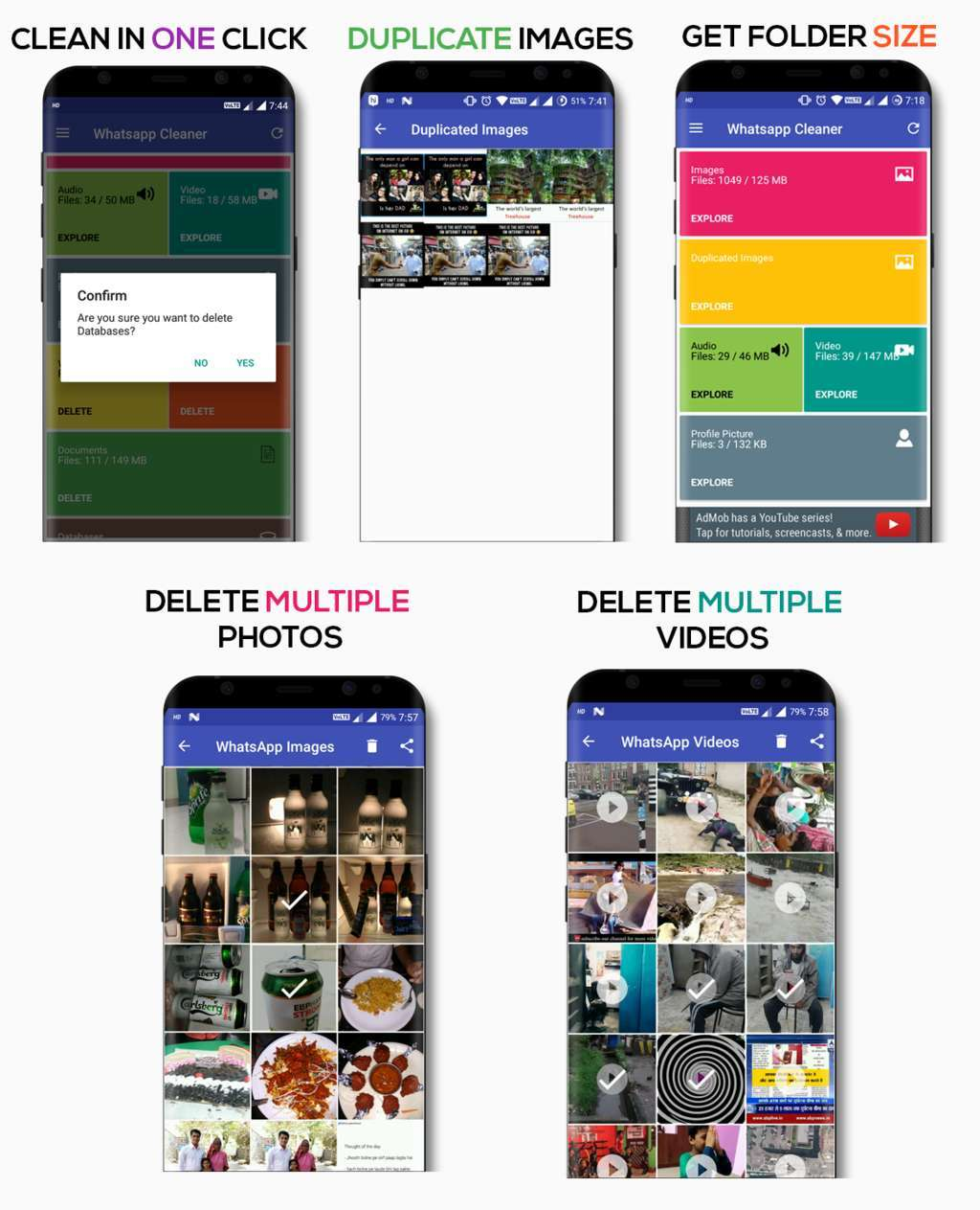 WhatsApp Cleaner(Duplicate Images/Videos+Backup+Admob Ads+Firebase) - 1