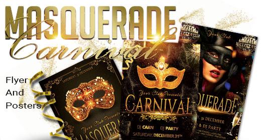 Masquerade, Mardi Gras, Carnival Flyer And Poster