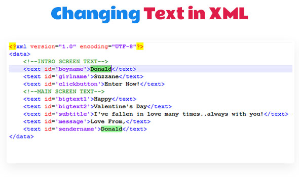 Text Change in XML File