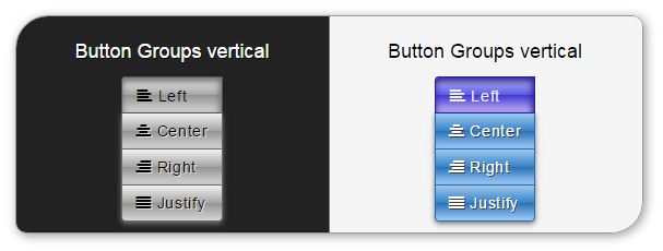 Delicious Bootstrap skin - button groups vertical