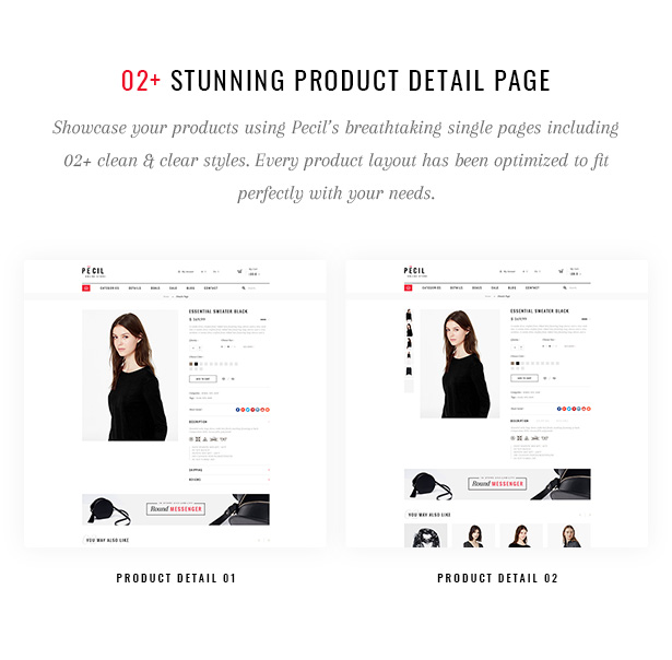 Pecil Stunning Product Detail Page
