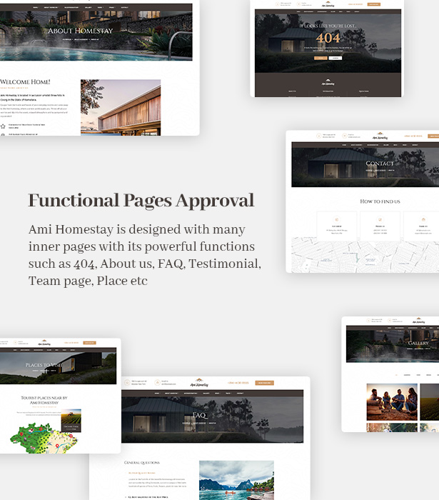Ami Homestay Hotel Resort WordPress Theme - Functional Pages
