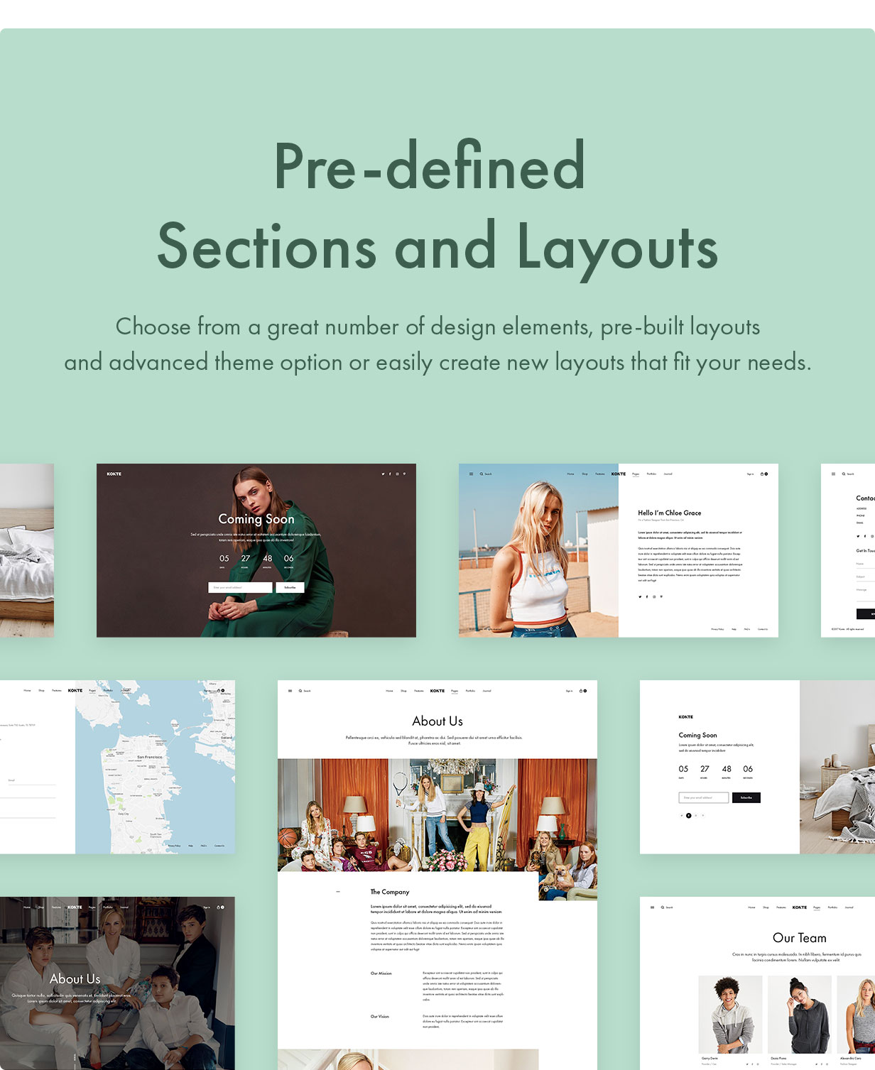 Konte WordPress theme with pre-defined sections and layouts