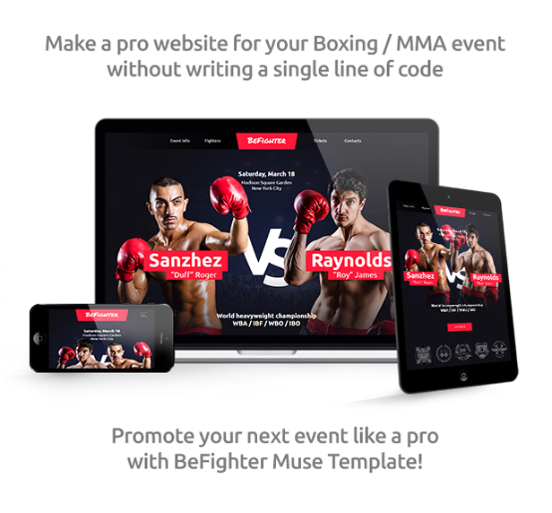 BeFighter - Boxing Event / Mixed Martial Arts / Fight Club Responsive Muse Template - 1