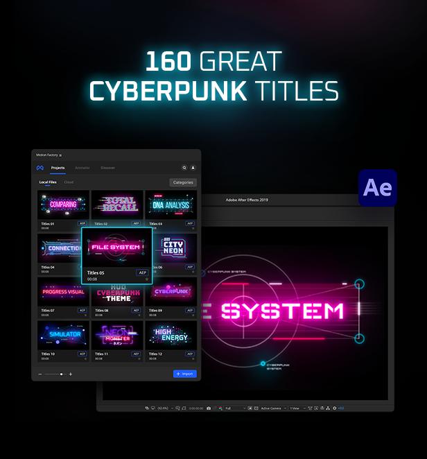 AE脚本-赛博朋克未来科幻霓虹灯发光文本标题背景动态工具包 Cyberpunk Titles Lowerthirds and Backgrounds插图8