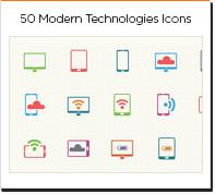 50 modern technologies icons