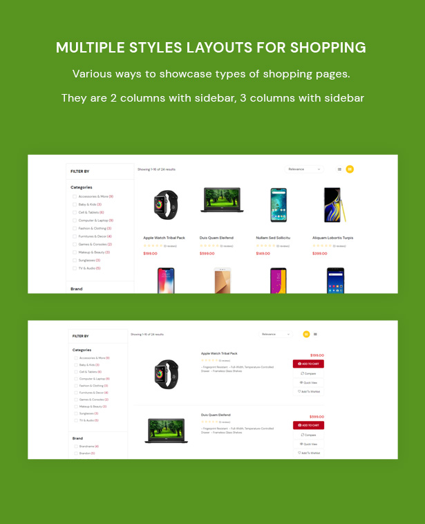 Multiple Styles Layouts for Shopping