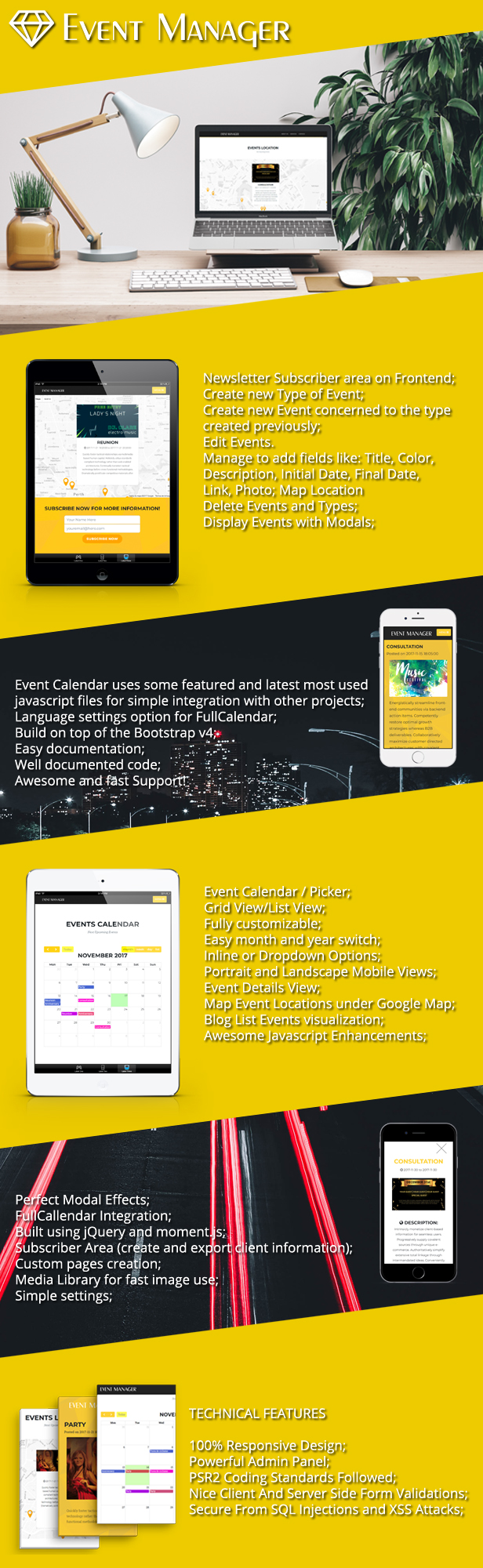 Free Download Event Manager PHP Script + Admin panel