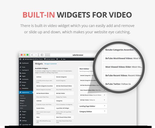 tema de vídeo pronto para widgets