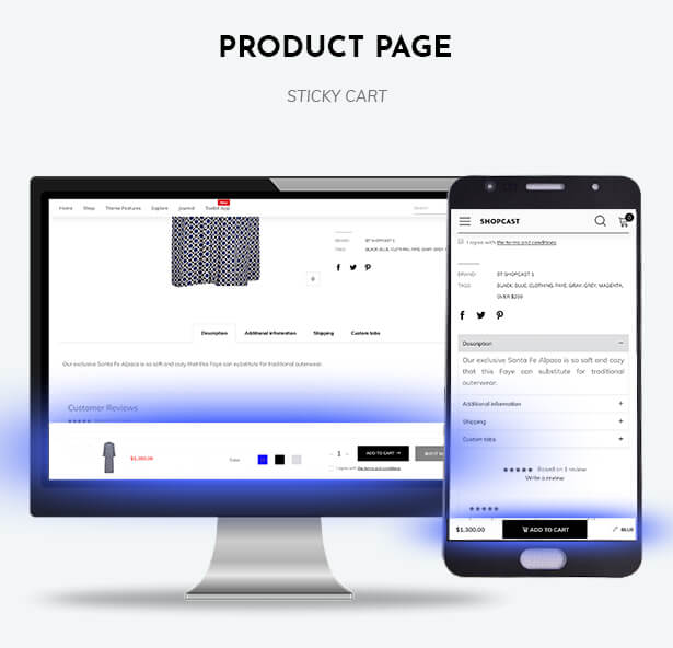 The sticky cart on the product page