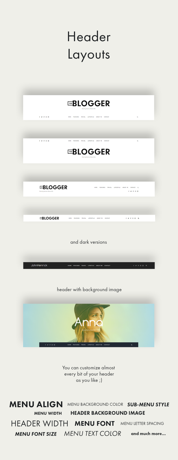theblogger header layouts