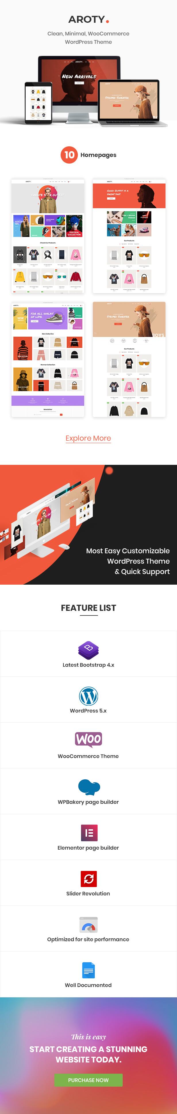 Aroty - Clean, Minimal Shop WordPress WooCommerce Theme - 1