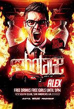 Sabotage Party Flyer PSD Template