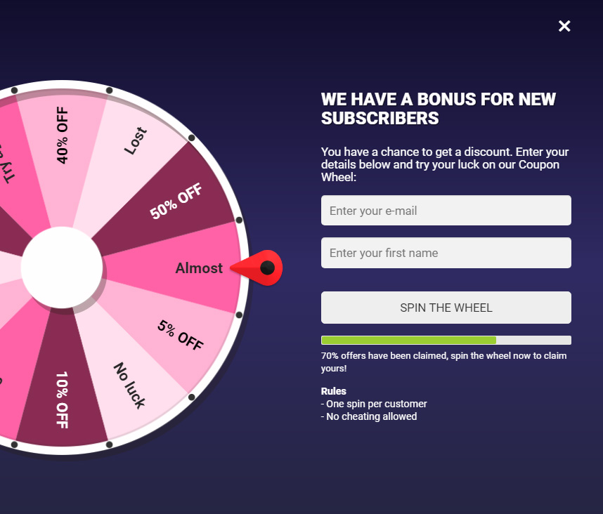 Coupon Wheel For WooCommerce and WordPress - 7