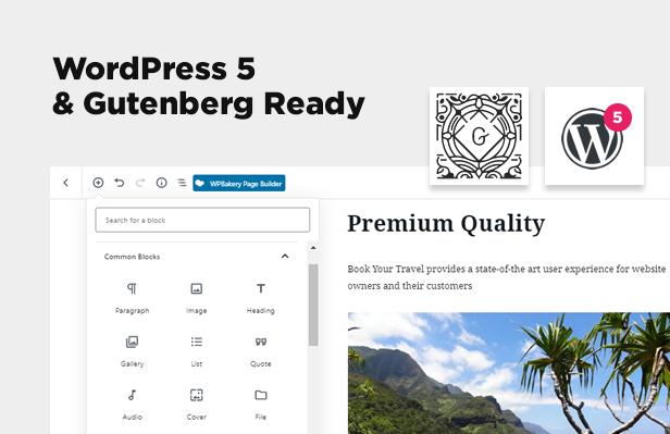 WordPress 5 Ready and Gutenberg support