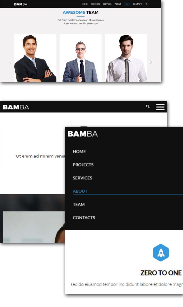 Bamba - One Page Clean Responsive Business HTML5 Template - 6