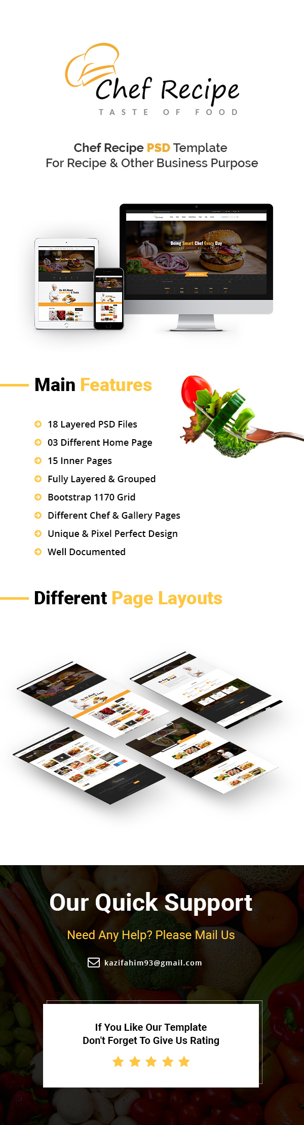 Food and Recipe PSD Template
