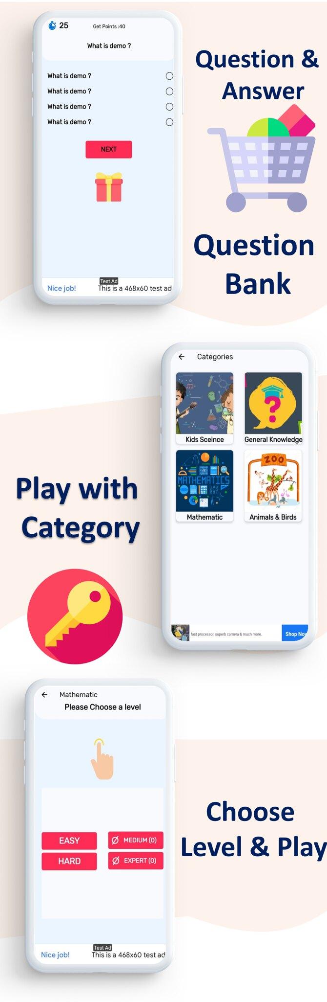 Quick Quiz App | Quiz App | Multi Category | Amob Ads | Facebook Ads | Admin Panel - 5