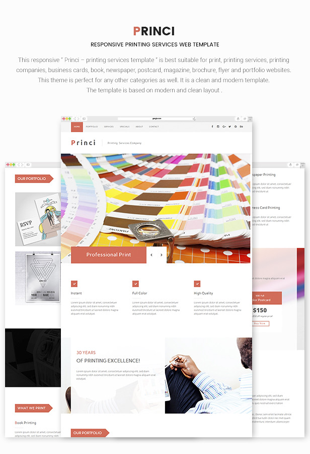 Princi Responsive Printing Services Web Template By MaximusTheme - What website template is this