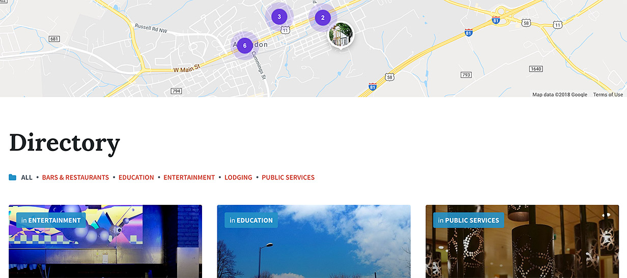 Listing Directory - Display a directory of business in your municipality with important contact details and opening hours.