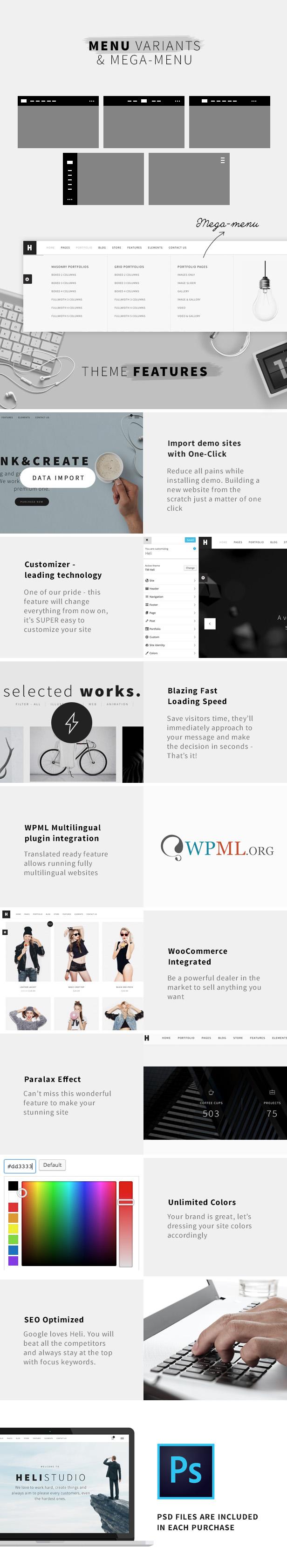Minimal Creative Black and White WordPress Theme - Various layouts of black n white theme like Heli