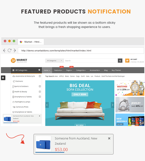 Market - featured product notify