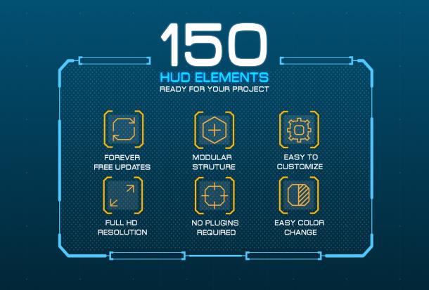 AE模板-未来高科技全息信息图表科幻触屏屏幕界面HUD信息图套件
