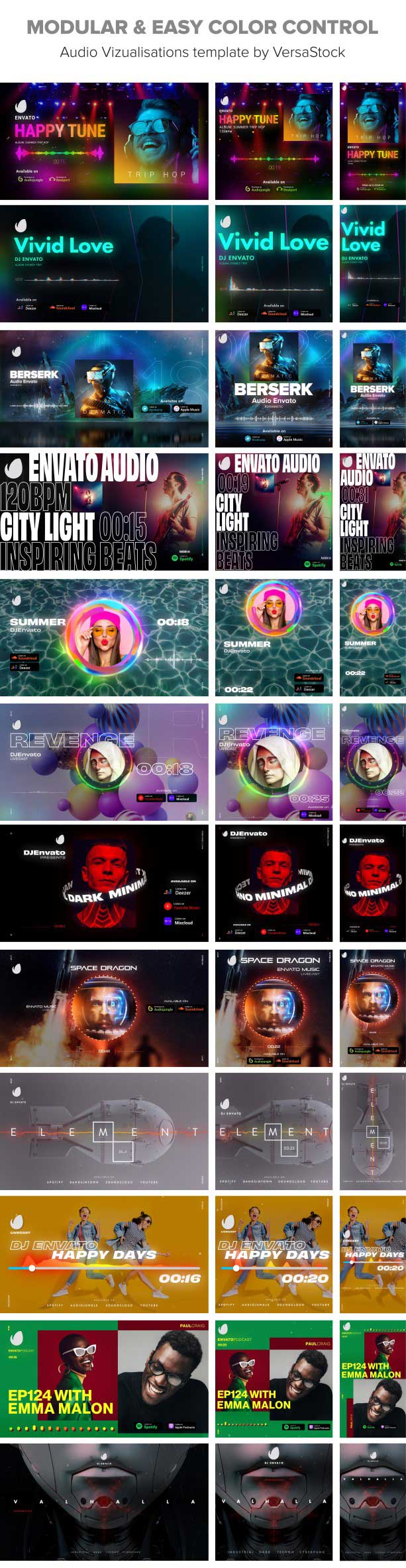 contact sheet of audio visualisation modules with standart vertical and square modules