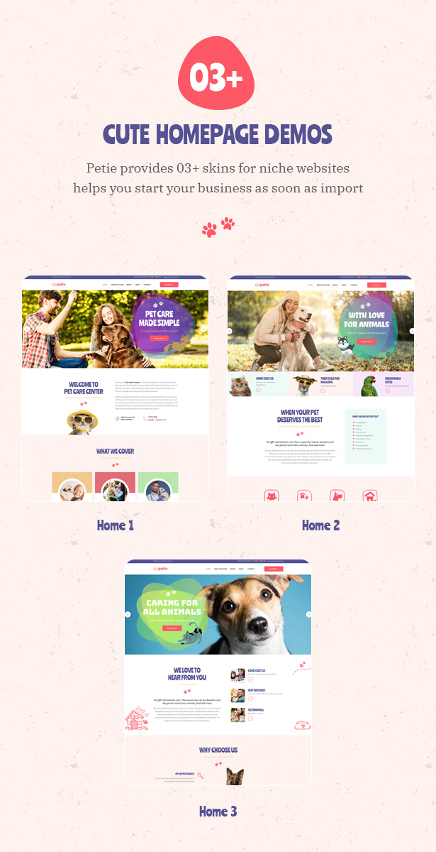 Petie - Pet Care Center & Veterinary WordPress Theme 03+ cute homepages