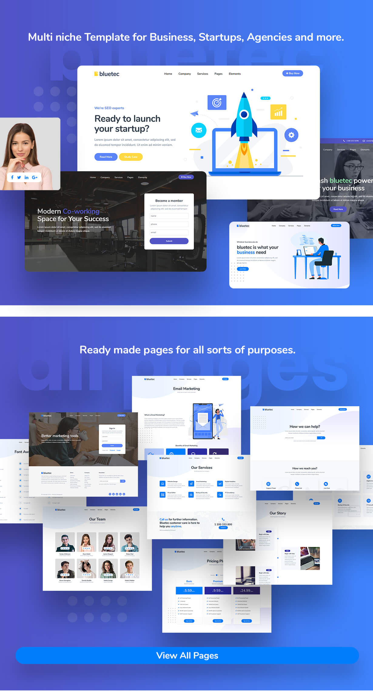 Bluetec - Saas, IT Software, Startup and Coworking Website Template - 1