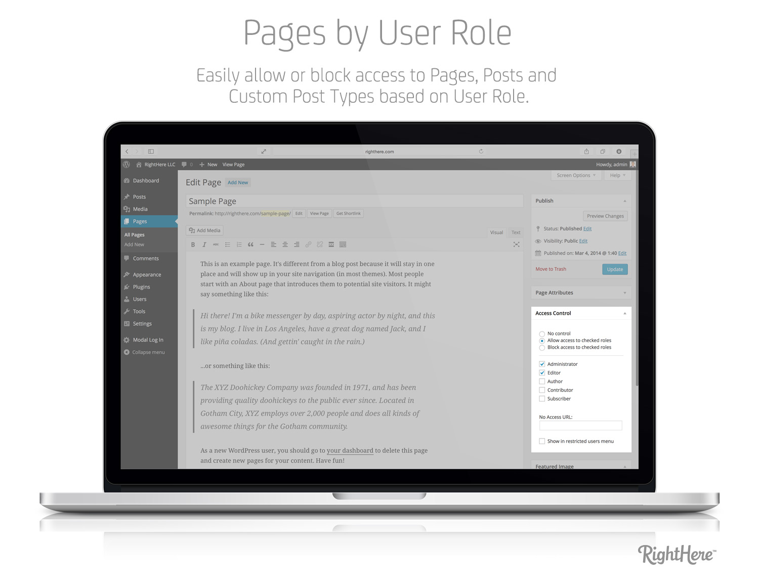 Pages by User Role for WordPress - Access Control Metabox