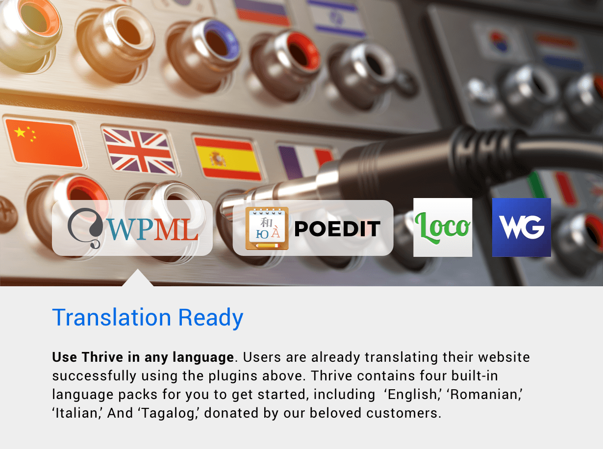 Thrive is compatible with WPML, POEdit, Loco Translate, WeGlots