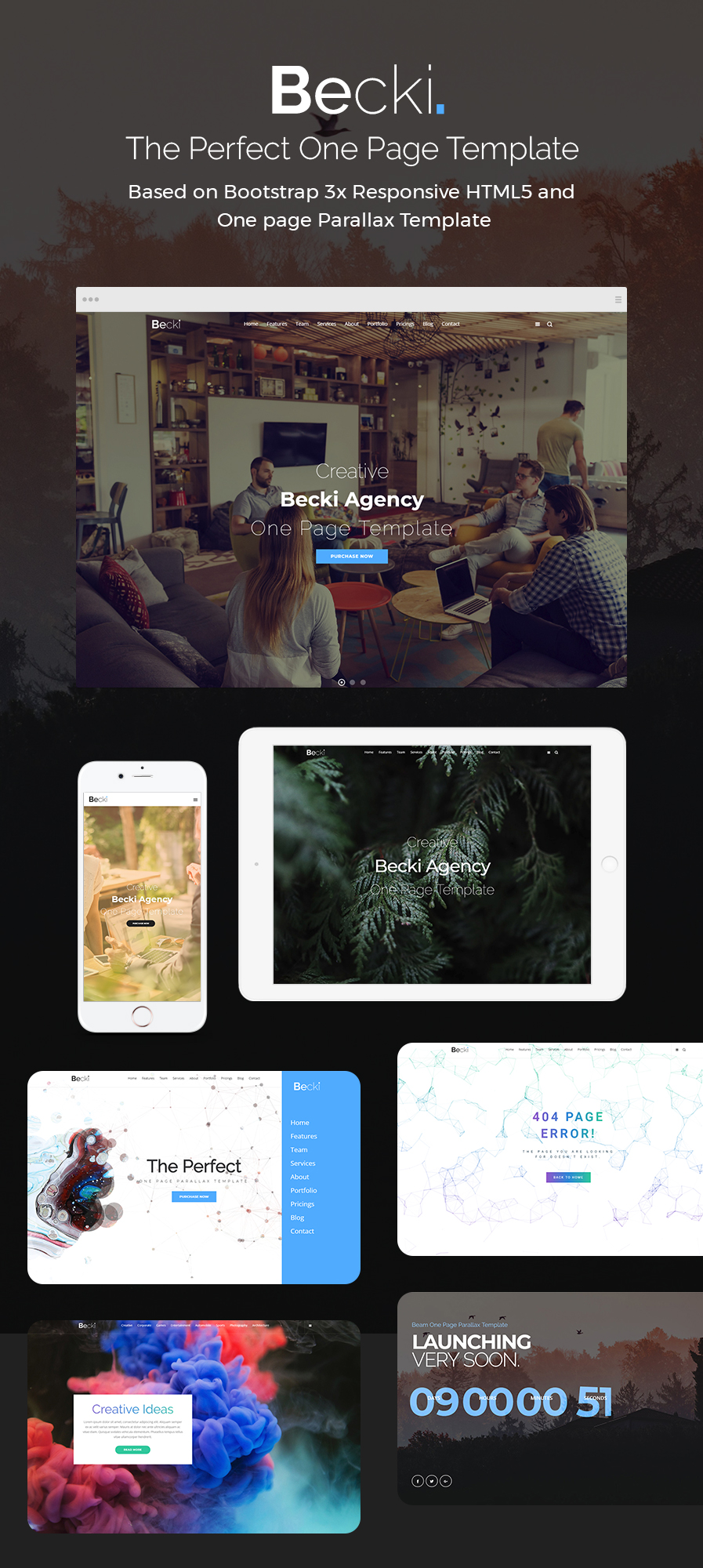 Becki Creative Parallax One Page Html Template By Designsninja