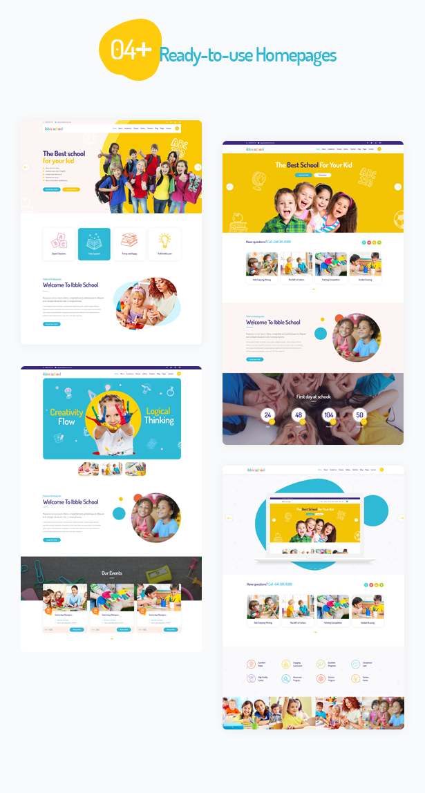 04 premade homepages in Ibble Education WordPress Theme