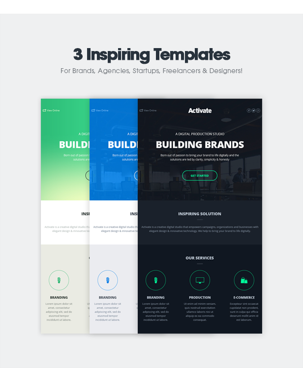 Activate modern emails online template builder by for Cool html email templates