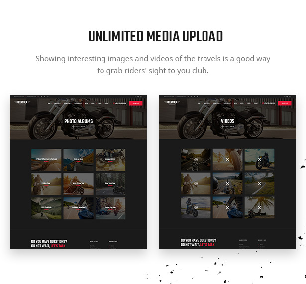 Lex Rider is a fully responsive Biker & Motorcycle WordPress Theme
