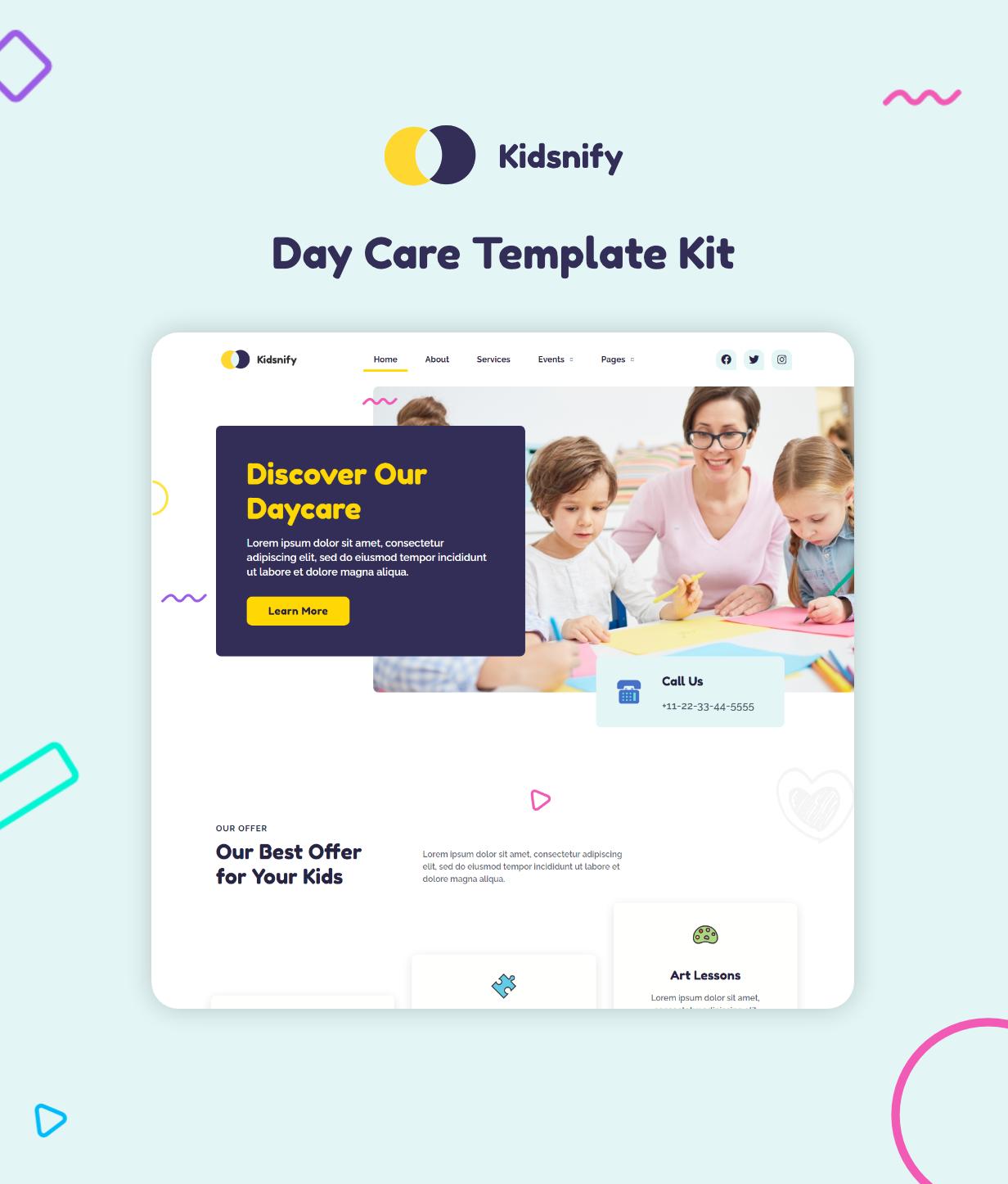 Kidsnify | Daycare Elementor Template Kit - 1