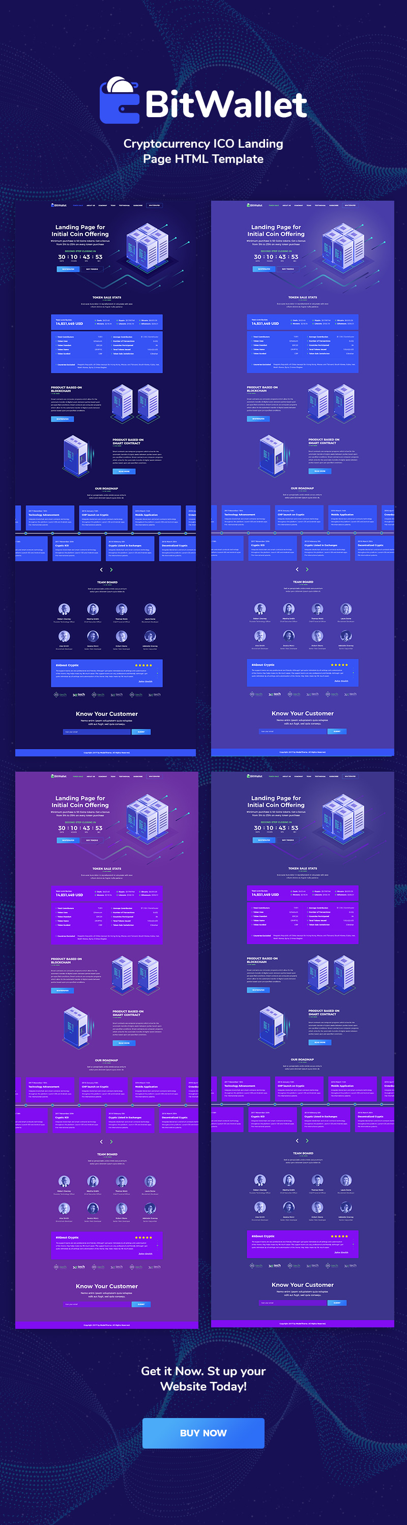 BitWallet - Cryptocurrency ICO Landing Page HTML Template