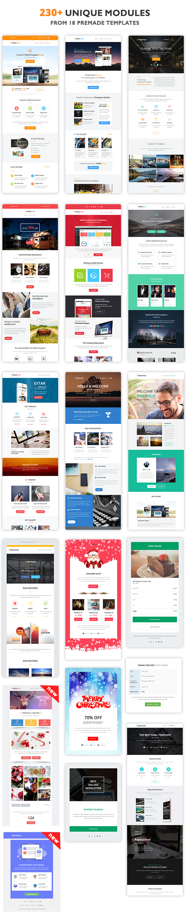Multimail | Responsive Email Template Set + Builder Online - 4