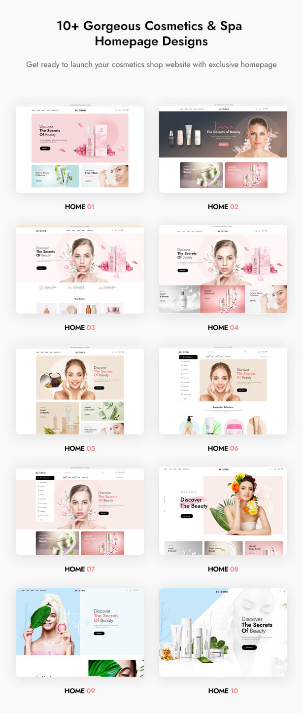 10+ gorgeous cosmetics & spa homepage designs Get ready to launch your cosmetics shop website with exclusive homepage demos