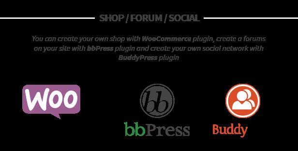 WooCommerce, bbPress and BuddyPress supports