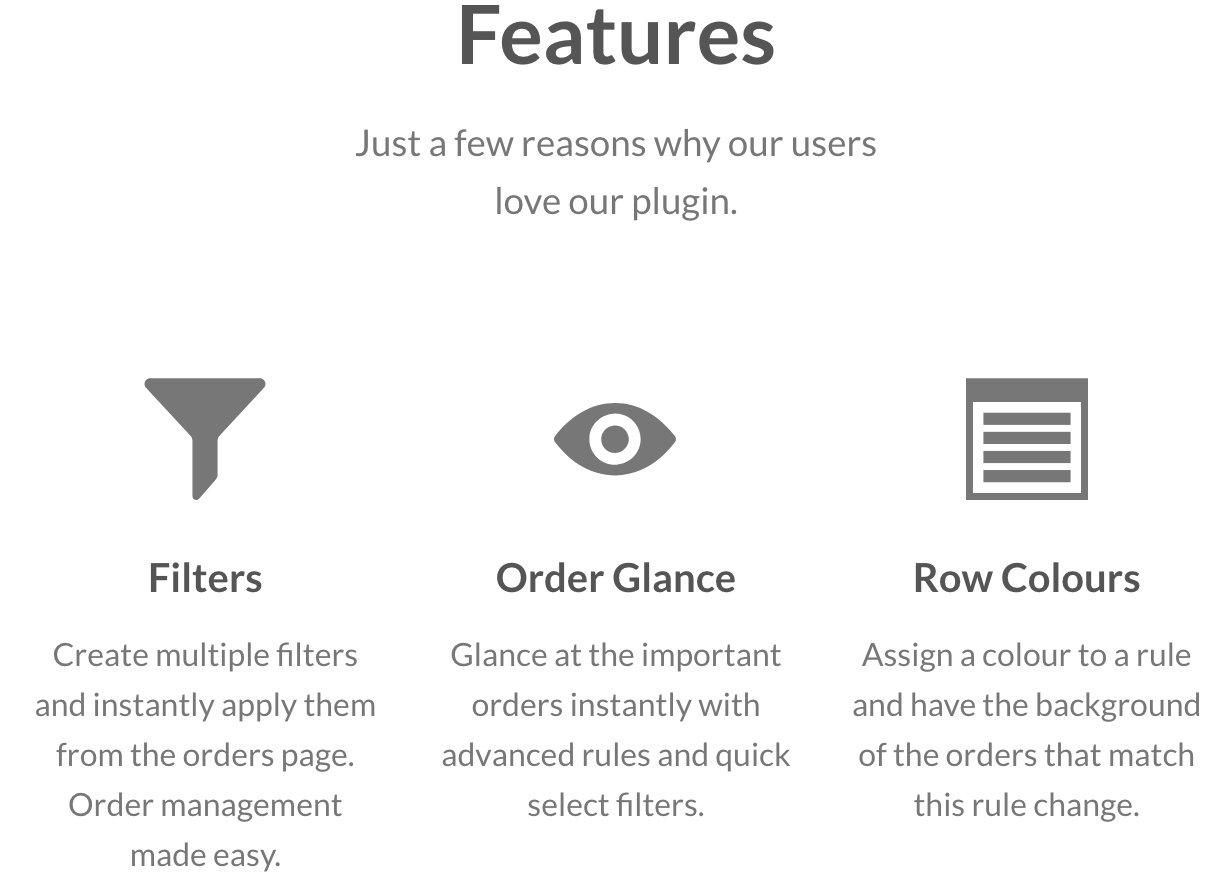 Filters, Order Glance and Row Colours