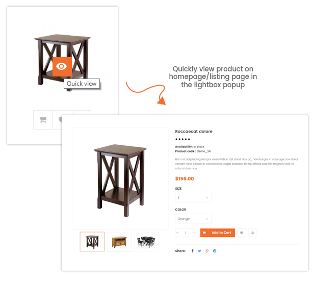A Fully Functional eCommerce Prestashop Theme - Quick view