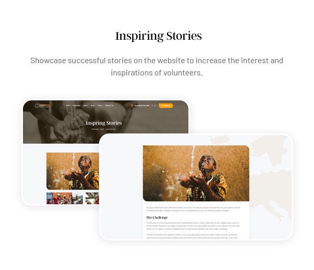 Gainlove Nonprofit WordPress Theme - Inspiring Stories to Volunteers Donors