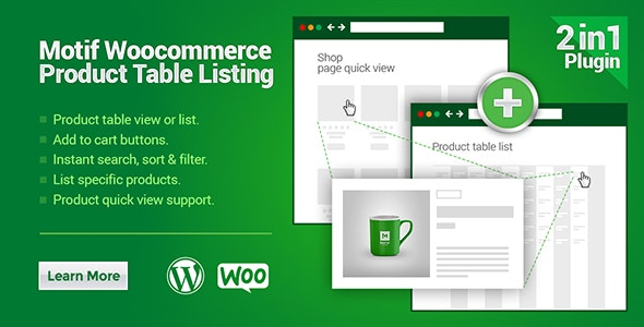 WooCommerce Product Table Listing