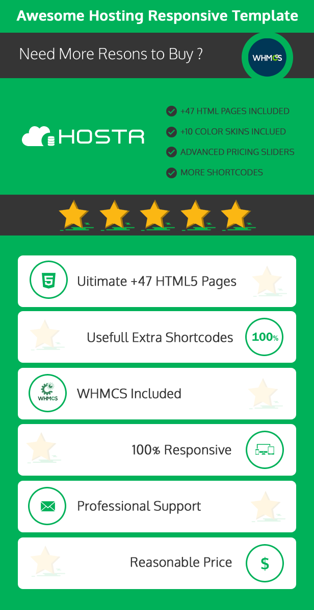 Hostr - Awesome WHMCS & HTML Clean Hosting Responsive Template - 3