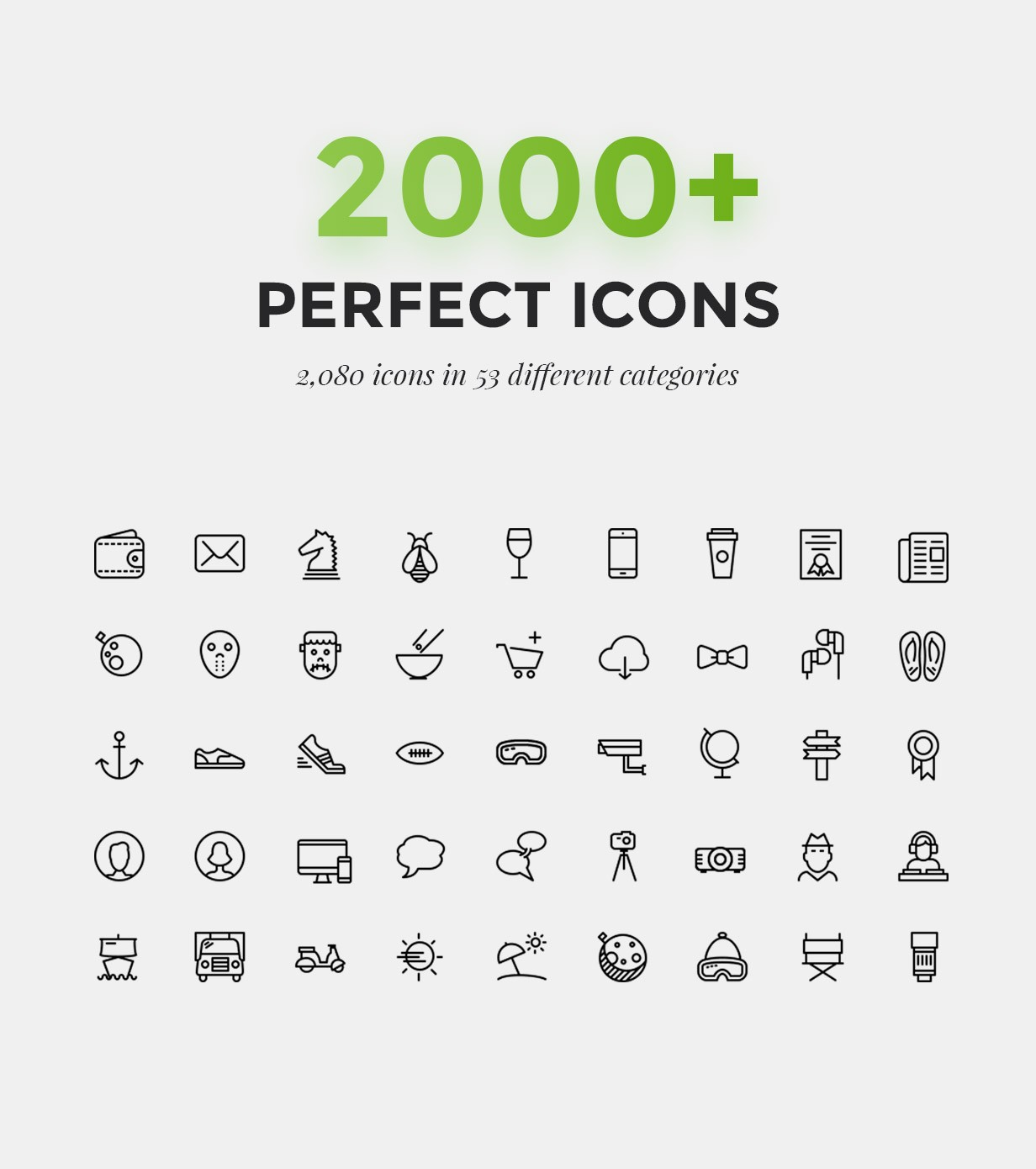 2000 ícones surpreendentes para 53 categorias