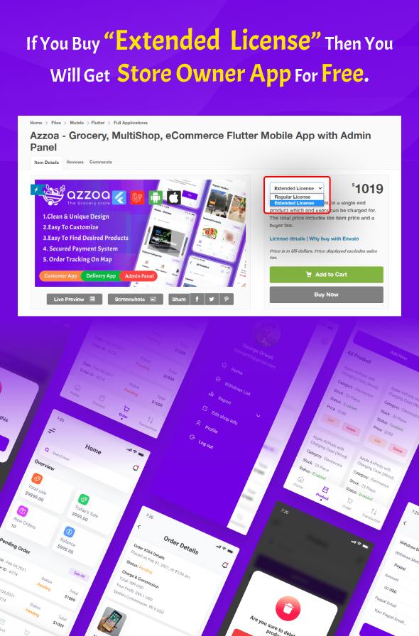 azzoa grocery, eCommerce seller app